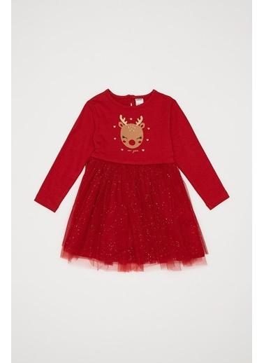 DeFacto Kız Bebek Geyik Baskılı Elbise Kırmızı